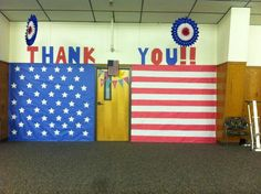The stage decorated for our Veterans Day assembly