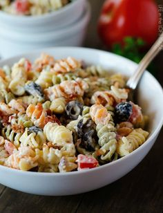 Try a southwestwern vibe with this Bacon Ranch Pasta Salad