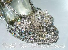 Beautiful High Heel Jeweled Shoe Showpiece Silver-Vintage,