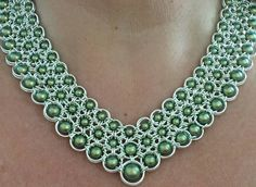 Stunning chainmaille and pearl collar necklace