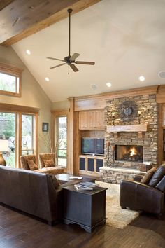 Halstad Craftsman Ranch House Plan 5902 - 3 Bedrooms and Baths Living Room Photos, Home Living Room, Living Room Designs, Living Area, Living Spaces, Craftsman Ranch, Craftsman House Plans, Craftsman Style, Craftsman Exterior