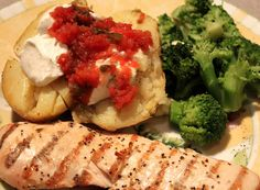 MEAL 1:grilled chicken seasoned with lawrys lemon pepper seasoning.  baked potatoes topped with light sour cream and salsa.  steamed fresh broccoli.