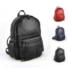 69.99$  Watch now - http://ali2oc.worldwells.pw/go.php?t=32531680310 - Women Genuine Real Leather Backpack Tassel Fringe Punk Rock Bag Back To School Book Fashion Casual Shoulder Purse Travel Daily