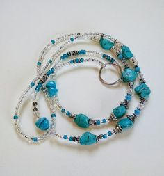 Turquoise Nugget and Clear Swarovski Crystal Lanyard<>Southwestern Color ID Badge Holder<>Lightweight Lanyard<>Key Holder<>Faux Turquoise <>