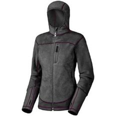 """Mountain Hardwear Monkey Women Lite Fleece Jacket - Women's by Mountain Hardwear. $82.45. Integrated thumb loops for bonus warmth. Slim hood designed to fit easily under helmet. fleece. Pockets set high and out of harness's way. For the record, no primates were harmed in the making of Monkey Phur Lite, the fleece lining of the Monkey Woman Lite Jacket. The """"phur"""" works in tandem with Power Stretch side panels (designed for maximum breathability) to create the Micro Climate Zo..."""