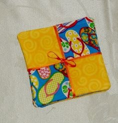 Flip Flops Patchwork Fabric Coaster Set of 4 by AStitchinTime72, $8.50