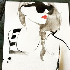 Sunday morning painting, and listening to Shakey Graves  #watercolor #fashionillustration #art #illustration #painting