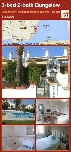 Bungalow for Sale in Villamartin, Alicante (Costa Blanca), Spain with 3 bedrooms, 2 bathrooms - A Spanish Life American Kitchen, Bungalows For Sale, Fitted Wardrobes, Private Garden, Double Bedroom, Alicante, Malaga, Ground Floor, Terrace