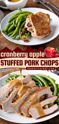 These Cranberry Apple Stuffed Pork Chops are the BEST! Served with a rich homemade pan gravy, this easy main dish idea is sure to impress guests. Pin this Thanksgiving dinner recipe for later! Easy Main Dish Recipes, Easy Holiday Recipes, Easy Stuffed Pork Chops, Food Dishes, Main Dishes, Apple Pork Chops, Thanksgiving Dinner Recipes, Pork Chop Recipes, What To Cook