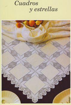 Crochet lace and fabric combo Crochet Mat, Crochet Dollies, Thread Crochet, Filet Crochet, Double Knitting Patterns, Knitting Designs, Crochet Designs, Crochet Patterns, Crochet Borders