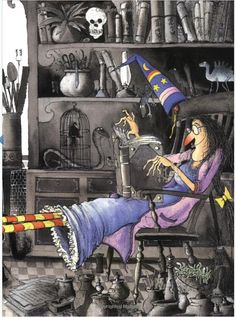 Winnie the Witch - Artist on the illustration Witch Pictures, Halloween Pictures, Vintage Halloween, Halloween Crafts, Halloween Decorations, Cartoon Witch, Art Magique, Illustrator, Dragons