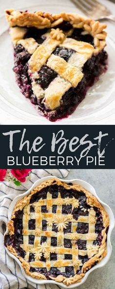 Literally the best, easy & simple homemade Blueberry Pie Recipe from scratch that you will ever try! It's made with only a handful of ingredients and includes step-by-step instruction and photos for making your own butter pie crust! You need to make this amazing dessert this summer! #pie #blueberries #baking #recipe #fromscratch #homemade #blueberrypie via @joyfoodsunshine