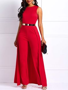 3c0db8e62125 Ericdress Patchwork Slim Overlay Embellished Plain Women s Jumpsuit(Without  Belt) Pantsuits For Women