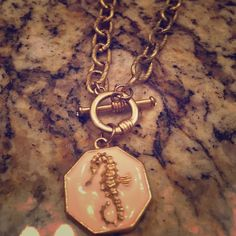 Lilly seahorse necklace Gold colored necklace with seahorse pendant. Good condition Lilly Pulitzer Jewelry Necklaces