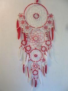 Attrape-Rêves Rouge et Blanc : Décorations murales par mesattrapereves