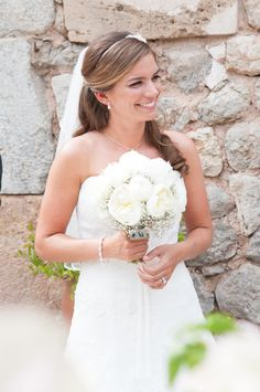 Classical white roses and skirt of gypsophila
