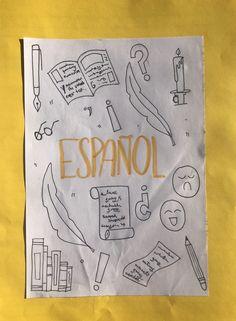 Idea de portada de español Bullet Journal Titles, Bullet Journal School, Bullet Journal Inspo, Book Journal, Cute Notes, Pretty Notes, Note Doodles, Felt Owls, School Notebooks