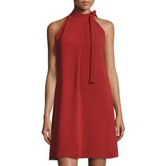 Theory Espere Admiral Tie-Neck A-line Dress ($199) ❤ liked on Polyvore featuring dresses, red, women's apparel dresses, high neck sleeveless dress, red sleeveless dress, high neck dress, theory dresses and straight dresses