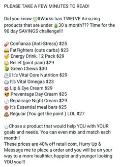 Itworks has SO many products under $30!!!  My personal under 30 favorite is the Lip & Eye cream!  Anyone up for an under $30, 90 day product challenge?!!  All you need to do is go to   itsamandaswrapthing.itworks.com, pick whatever product(s) you want from the list, register as a loyal customer @checkout for FREE(so you get the 45% off retail price), and at the end of the 90 days, give me your honest opinion on how you liked the results of the product(s) you used!  It's THAT EASY! ✔ #itworks