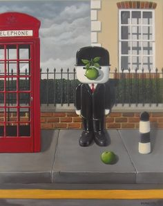 Entitled 'Magritte Street' It is another in the 'Fred' series of Magritte inspired paintings.