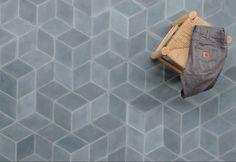 The Diamond North Sea tiles by Marokk Terrazzo, Blue Powder Rooms, Harrison House, Landscape Materials, House Tiles, Concrete Tiles, Handmade Tiles, North Sea, Bathroom Inspo