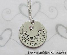 Teacher - Personalized Necklace - Teach.Love.Inspire-teacher gift, best teacher, #1 teacher gift, hand stamped jewelry, personalized jewelry, necklace, graduation gift, Christmas gift, teach, love, inspire