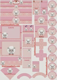 Sweet Baby Lambs in Pink Free Printable Kit.