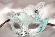 Venetian Masquerade Masks with Lace Metal Butterfly - Teresa Silver