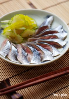 Sanma (Pacific Saury) Marinated in Ponzu Sauce and Olive Oil 秋刀魚のマリネ