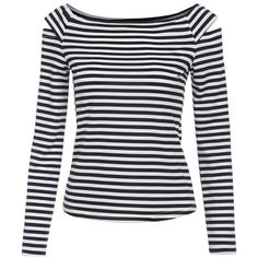 WANGSCANIS Women's Cut Out Shoulder Long Sleeve Striped T-shirt Tops ($7.99) ❤ liked on Polyvore featuring tops, t-shirts, cold shoulder tee, knit top, long sleeve t shirts, long sleeve tops and striped long sleeve tee