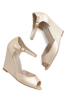 What do you think of these for with my dress?? Etch Me If You Can Wedge in Champagne, #ModCloth