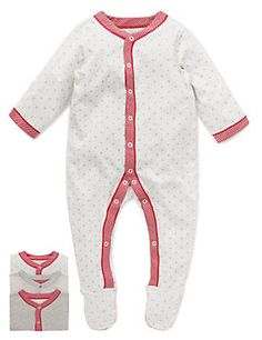 Grey Mix 3 Pack Pure Cotton Assorted Sleepsuits