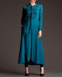 Teal Blue Long Jacket with Floral Print- Buy Tunics & Tops,AM:PM Online   Exclusively.in Long Jackets, Teal Blue, Kurti, Tunics, Floral Prints, Tunic Tops, Coats, Amp, Stuff To Buy