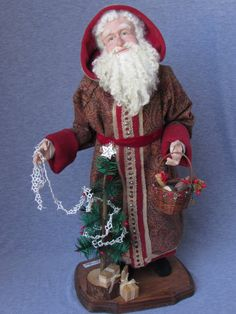 Nonna's Santas by alane-Handmade Old World Father Christmas OOAK Sculpted Santa Claus