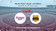 Cricket Baazigar Provide Match Prediction and Cricket Betting Tips Free Durban Heat vs Jozi Stars, Mzansi Super League 2018 #TodayMatchPrediction #CricketBettingTips #dream11 #ballebaazi #fantasycricket #baazigar