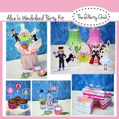 Party Kit , Printable, Birthday  Alice In Wonderland, INSTANT DOWNLOAD,  Diy Editable Text , Pdf. Birthday party