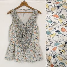 "BIRD print ruffle front tank top Excellent condition! Fully lined. 100% polyester. Bust 36"" length 23.5"" LC Lauren Conrad Tops Tank Tops"