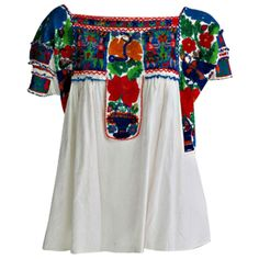 Rare micro beaded Mexican peasant blouse found on Polyvore featuring polyvore, fashion, clothing, tops, blouses, shirts, shirts & tops, beaded blouse, shirts & blouses and peasant blouse