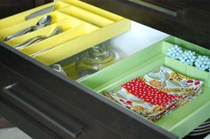 Use this technique for deep drawers in makeup vanity.   IHeart Organizing: UHeart Organizing: A Super Solution for Deep Drawer Storage