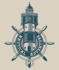 Nautical Prints, Vintage Nautical, Nautical Outfits, Nautical Clothing, Anchor Illustration, One Piece Tattoos, Wheel Logo, Ship Wheel, Pirate Theme