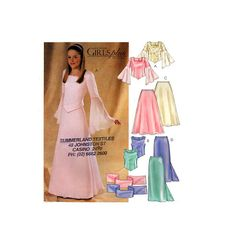 03 McCall's 4246 Medieval Style Girls' Bridesmaid, Flower Girl Tops and Skirts, Uncut, F/F, Sewing Pattern Size including half sizes Ankle Length Skirt, Textiles, Medieval Fashion, Straight Skirt, Princess Seam, Brides And Bridesmaids, Flare Skirt, Hemline, Sewing Patterns