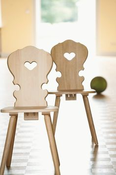 Wood chairs with heart cutouts - south Tirol.