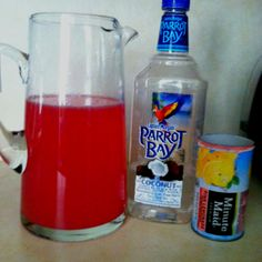 """I shall call it... """"The Pink Panther"""". 1 can pink lemonade concentrate, 2 cans water, 1 can coconut rum. Yummy!"""
