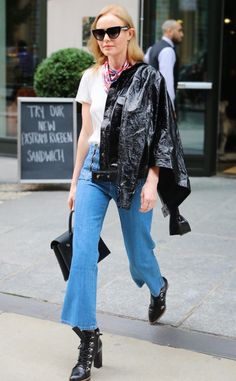 Kate Bosworth from Flared Cropped Jeans, the Celeb Way  With the pointed boots and one-shoulder covering, this has badass written all over it.