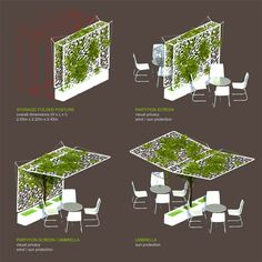 Of green umbrella design and many other neat/unique ideas for balcony meets garden scenes!green umbrella design and many other neat/unique ideas for balcony meets garden scenes! Architecture Durable, Sustainable Architecture, Landscape Architecture, Landscape Design, Architecture Jobs, Landscape Structure, Backyard Garden Design, Garden Landscaping, Backyard Pergola