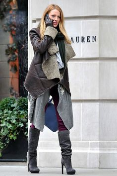 Shearling-layers-sky high boots. Blake Lively.