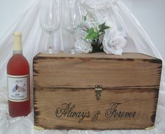 Wedding Wine Box Rustic Time Capsule Keepsake by dlightfuldesigns, $55.00, include our handwritten vows and guests notes