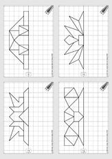 Allgemein klasse 2 Graph Paper Drawings, Graph Paper Art, Coding For Kids, Math For Kids, Preschool Worksheets, Preschool Crafts, Visual Perceptual Activities, Math Charts, Geometric Drawing