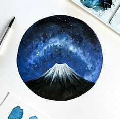 This is An Art  Follow artist @artbysinch Hashtag #anartfeature to get your art featured on our Instagram!!! . . . #anart #art #artpop #artlover #artistsoninstagram #artoftheday #visuals #creative #watercolour #watercolourart #watercolourpainting #milkyway #galaxy #galaxyart #stars #stargazing #starrysky #nightsky #volcano #mountain