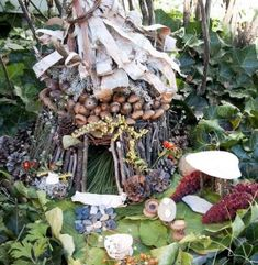 Twig fairy house with patio